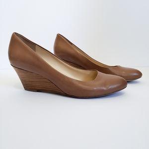Nine West Brown Wedge Pump Faux Wood Heels